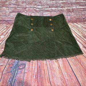 LF Car Mar | green corduroy button frayed skirt 0